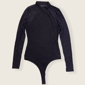 Lulus Black Sheer Sleeve Turtleneck Thong Bodysuit